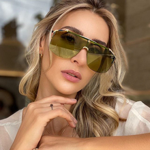 Rimless Alloy One Piece Sunglasses For Women New Luxury Brand Black Green Shiled