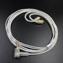 2.5 مللي متر MMCX الفضة مطلي سماعة التوازن كابل ل AK240 Shure SE215 535 UE900 سماعة HIFI ترقية خط 1.2 متر