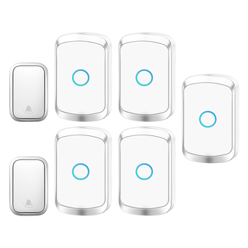 CACAZI Self-powered Waterproof Wireless Doorbell with No Battery EU US UK Plug Cordless Door Bell 2 button 5 Receivers 60 Chimes