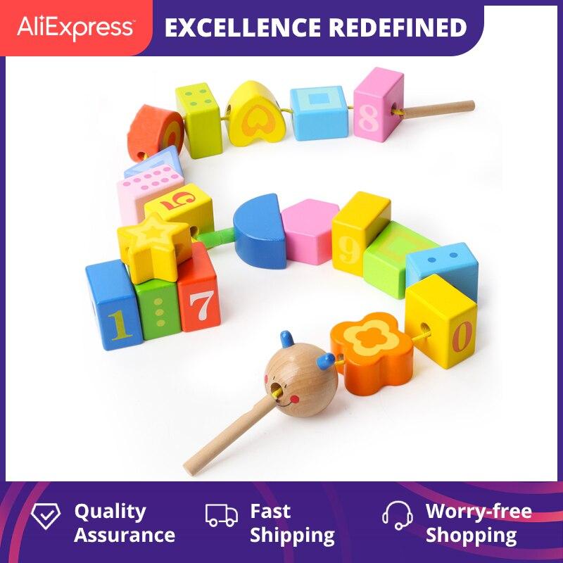 TOPBRIGHT Caterpillar bricolage mathématiques cognitives Bracelet perlé bébé éducatif petite enfance blocs de construction enfants fil