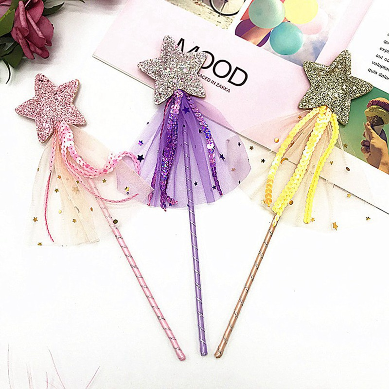 1 Pcs Halloween Day Cute Five Pointed Star Fairy Wand Magic Stick Girl Party Princess Favors  Birthday Gift Wedding Decoration
