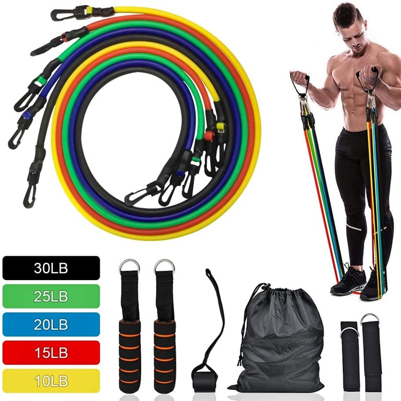 11pcs Resistance Bands Set Home Workout Elastic Pull Rope Sports Bands Yoga Exercise Fitness Rubber Tubes Band Stretch Training