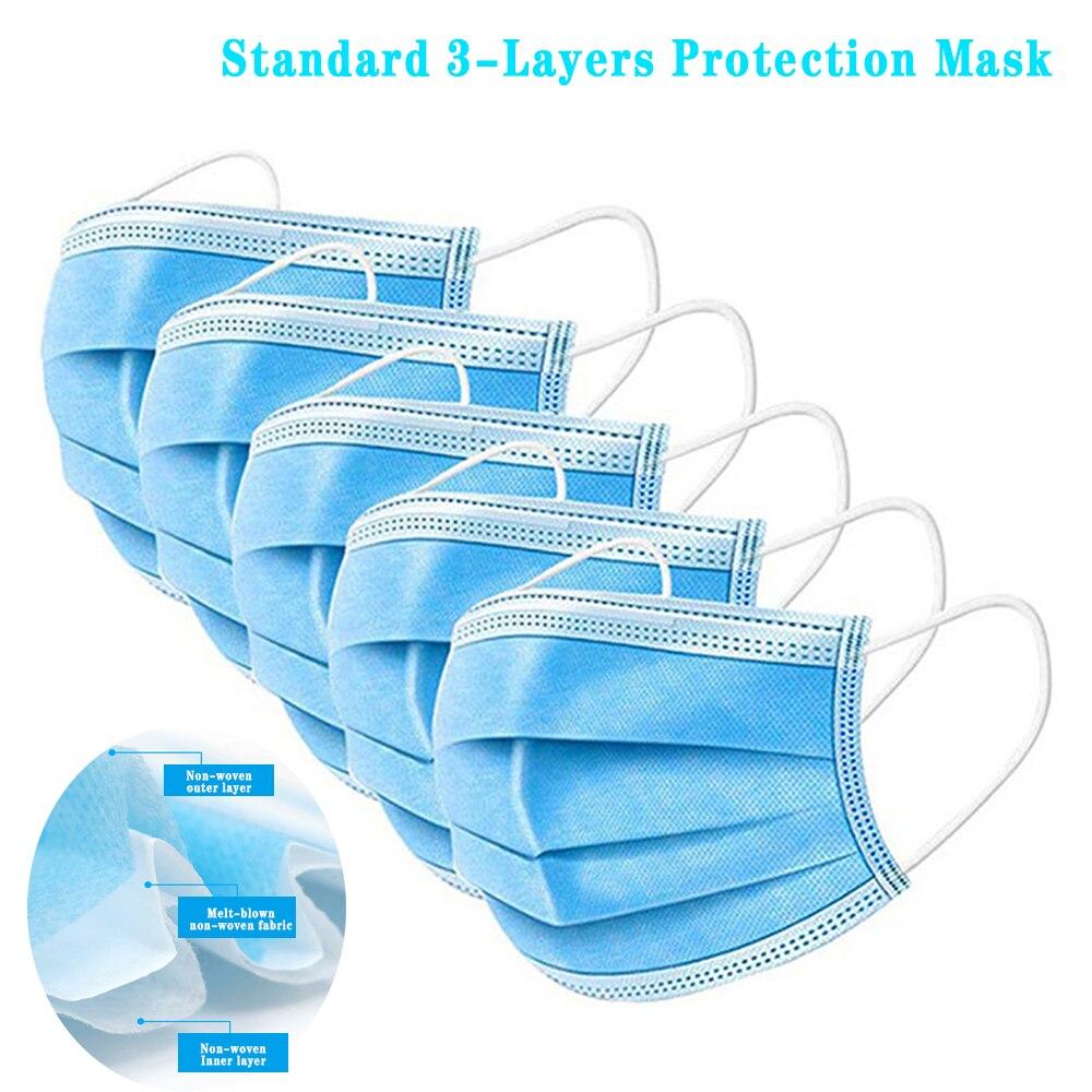 Standard 3 Layer Dust Mask Antibacterial Protection Sterile Mask Dustproof Mask Facial Protective Cover Mask Anti Virus