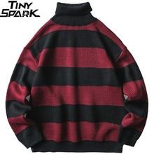 2019 Jersey a rayas para hombre, jersey de Hip Hop, Streetwear, Jersey Retro de cuello alto, suéteres de punto Harajuku, Rojo Negro, otoño, invierno