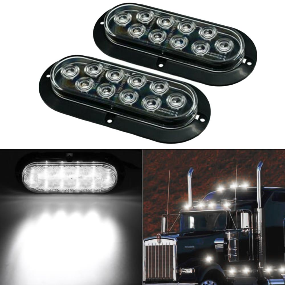 "2Pcs Oval White 6"" 10 LED Surface Mount Brake Stop Light Reverse Light for Truck Trailer Brake Light Led באתר"