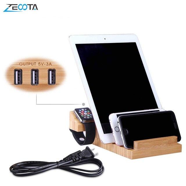 USB טעינת תחנת במבוק עץ Tablet מטען רב Dock מגנט שעון Stand 3 יציאות 5V/3A עבור טלפון