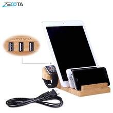 Usb Opladen Station Bamboe Hout Tablet Lader Multi Dock Magneet Horloge Stand 3 Poorten 5V/3A Voor Telefoon