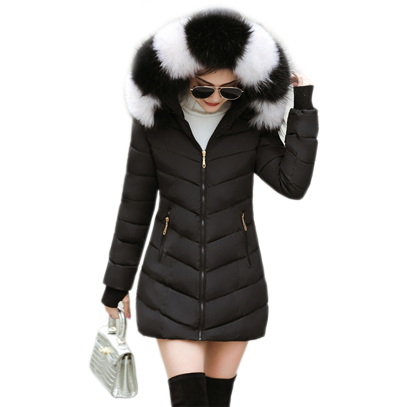 Coats Parka Padded-Lining Winter Jacket Hooded Female Thick Women Cotton New