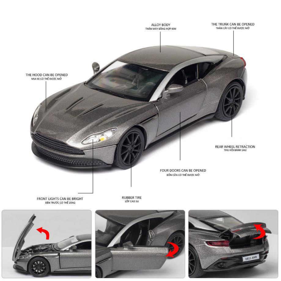 Лидер продаж, литые спортивные автомобили Aston Martin в масштабе 1:32, металлическая модель с светильник кой и звуком, Коллекция игрушечных автомобилей