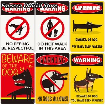 Beware of Dog Sign Warning Metal Sign Guard Dog Sign Wall Decor Yard Sign No Trespassing Metal Plaque Dog Signs 20X30CM [ kelly66 ] pet shop warning beware of dog no pooping allowed metal sign home decor bar wall art painting 20 30 cm size dg 4