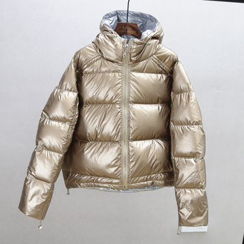 FTLZZ New Gold Silver Double Side Down Coat Winter Jacket Women Big Aritificial Fur White Duck Down Parkas Female Down Outerwear 5