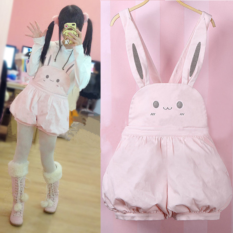 Pink <font><b>Kawaii</b></font> Overalls Girl Summer Rompers Cute Bunny Lantern Shorts Lolita Jumper Cute Rabbit Japanese Suspender Strap <font><b>Jumpsuits</b></font> image