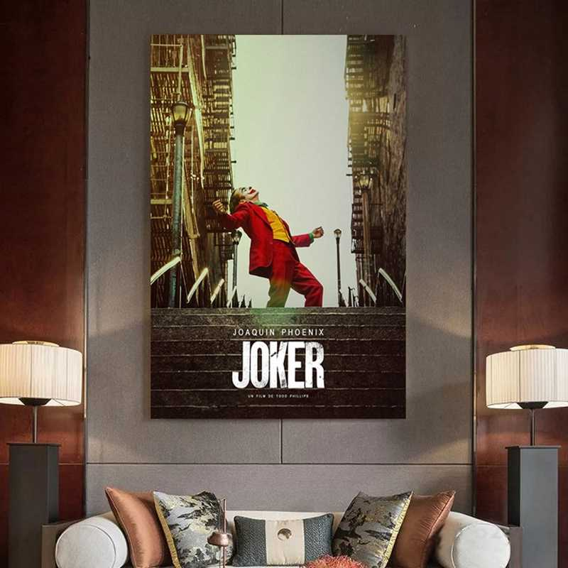 Movie Joker Silk Poster Joker Origin Movie Art Prints Comics Wall Decor Pictures Batman Joaquin Phoenix Film Posters Craft Art