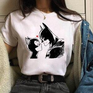 Summer Tops Cartoon Batman and Catwoman T Shirt Women Harajuku Kawaii T-shirt Female White Funny T-shirt Femme Streetwear Tshirt