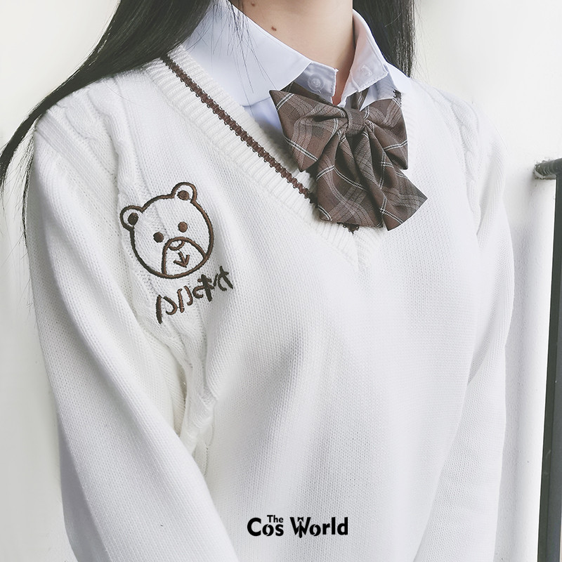 [Chocolate Bear] Autumn Winter Long Sleeve Knit Tops Pullovers V Neck Sweaters For JK School Uniform Student Clothes