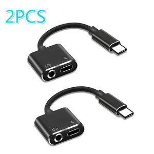2PCS 2 In 1 Usb Typec Adapter Earphone Charging Splitter To 3.5mm Headphone Jack Audio Aux for Xiaomi Huawei Oneplus Phone Cable(China)