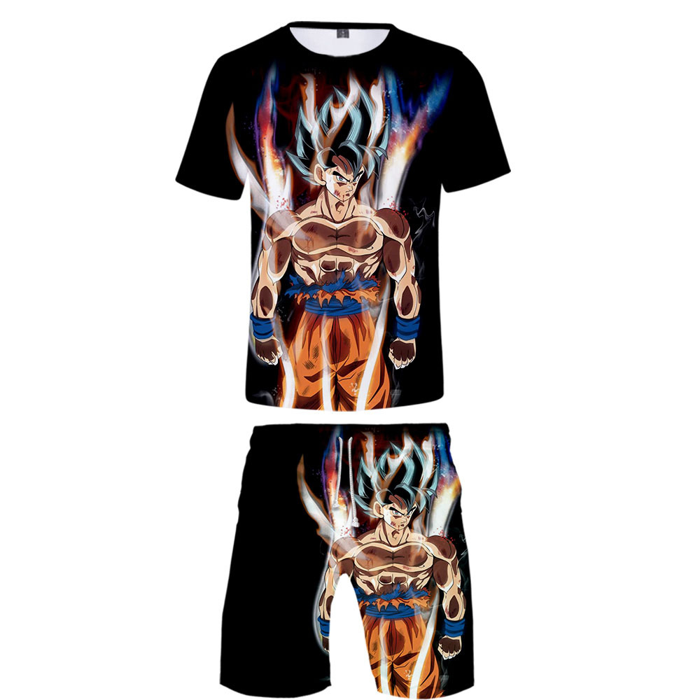Hot Sales Summer New Style Anime Dragon Ball Related Products Short Sleeved T-shirt Shorts Set + Childrenswear