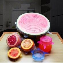 Tapas de silicona reutilizables para alimentos, 6 uds., accesorios de cocina para mantener la comida fresca