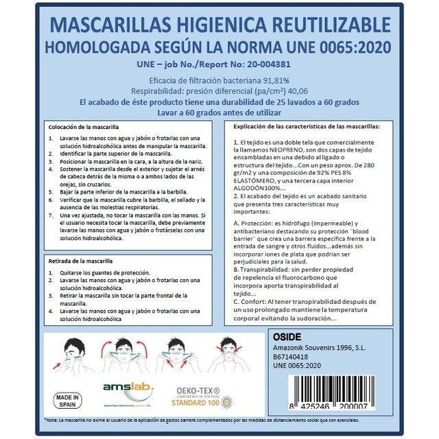 Mascara Flag Spain Green Miltar Higienica Masks fabric 25 washes Homologada standard EU manufactured in Spain Neoprene 4