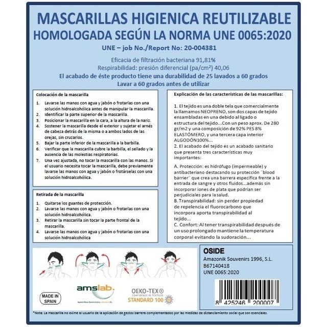 Mascara Higienica fabric Brown 25 washes Homologada standard EU manufactured in Spain Neoprene 3