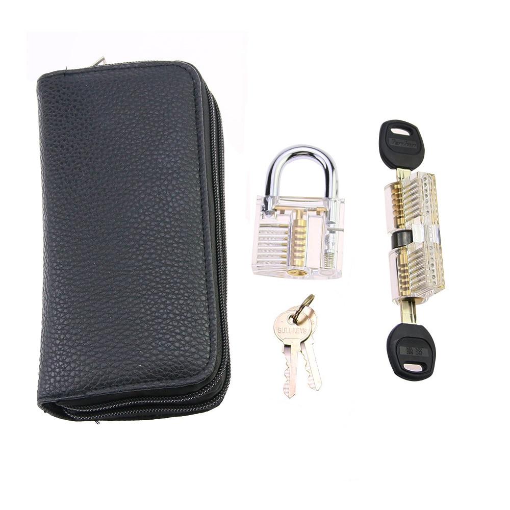 24pcs Titanium Lock Set with 2pcs Transparent LockLock Practice Pick Remove Tool Kit for Professional Locksmith
