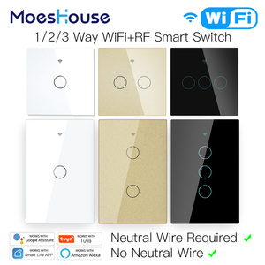 WiFi Smart Light Touch Switch No Neutral Wire Required Smart Life Tuya APP control Alexa Google Home Compatible 1/2/3 Gang EU US