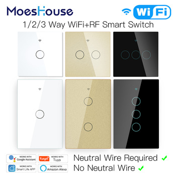 WiFi Smart Light Touch Switch No Neutral Wire Required Smart Life Tuya APP control Alexa Google Home Compatible 1/2/3 Gang EU US usa au wifi smart light wall touch switch interruptor touch 1 2 3 gang tuya ewelink app control wifi smart wall switch