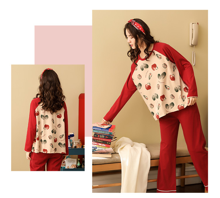 Women Pajamas Sets Spring Autumn Long Sleeve Print Cute Cotton Sleepwear Big Girl Pijamas Mujer Leisure Student Pajama Tracksuit 42