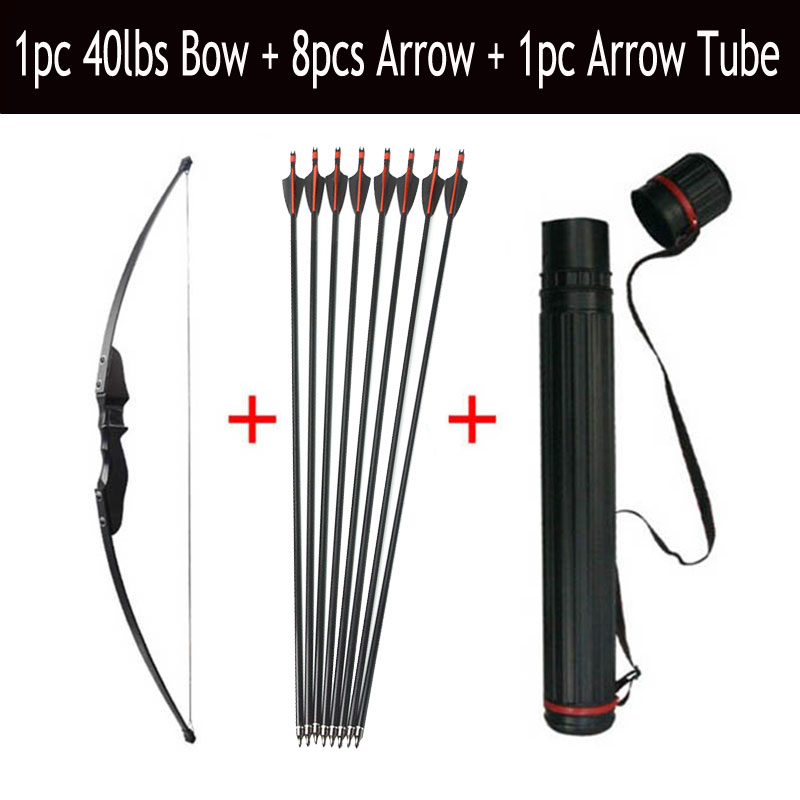 30/40lbs Archery Recurve Bow And Arrow Set 8pcs Fiberglass Arrow Spine 500 With Arrow Quiver RH/LH Shooting Hunting Accessories-in Darts from Sports & Entertainment