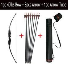Arco recurvo y Flecha de 30/40lbs, juego de 8 Uds., fibra de vidrio, flecha, columna vertebral 500 con flecha carcaj RH/LH, accesorios de caza