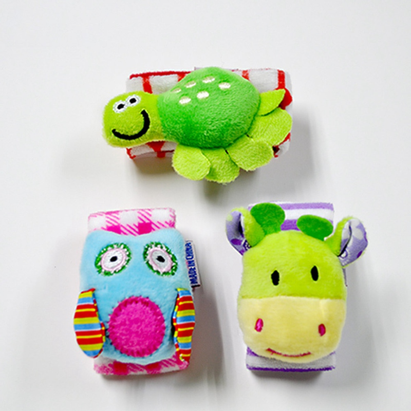 Infant Baby Rattles Toys Animal Pattern Strap Rattle Kids Foot Socks Wrist Bells Rattles Cartoon Educational Toy Gifts