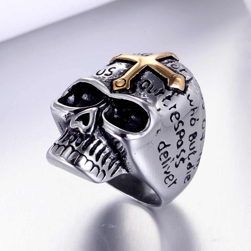 Offre spéciale hommes titane acier FTW Biker anneau mode Rock Hip Hop réel en acier inoxydable bijoux Top qualité anel bague