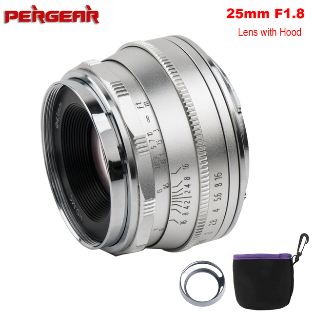Pergear 25mm f1.8 Manual Prime Lens to All Single Series for Fujifilm for Sony E Mount & Micro 4/3 Cameras A7 A7II A7R XT3 XT20