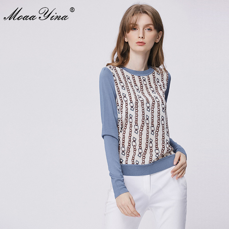 MoaaYina Fashion Spring Autumn Long Sleeve Knitting Tops Women's Elegant Stripe Print Silk Wool Sweater Pullovers