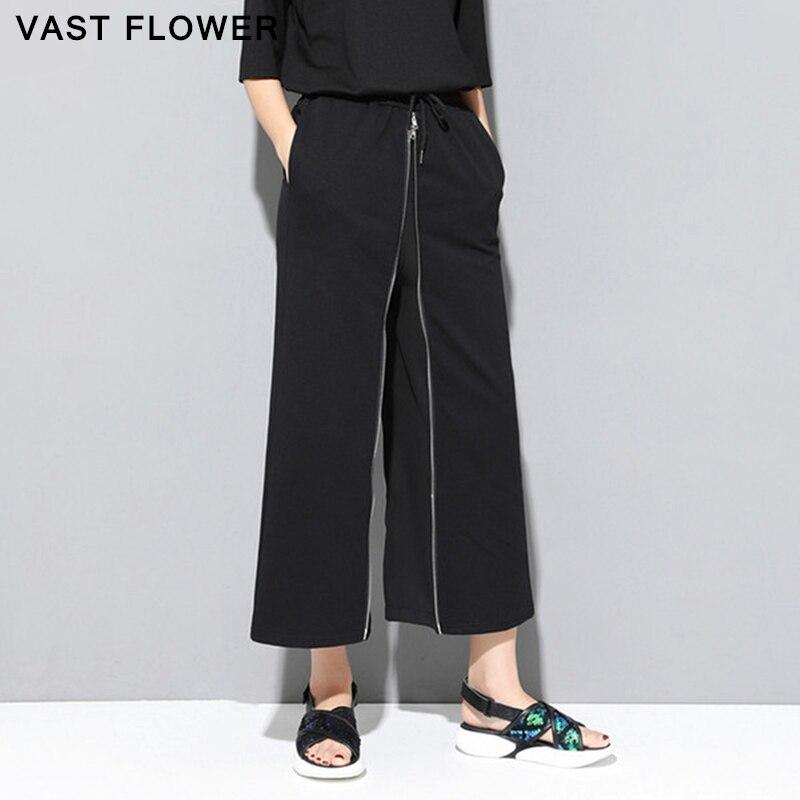 Женские широкие брюки на молнии, черные свободные повседневные брюки, уличная одежда, весна лето 2020|Брюки |   | АлиЭкспресс