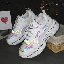 White Shoes Woman Fashion Reflective Glitter Sneakers Summer Mesh Designer Platf