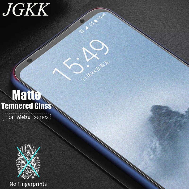 JGKK 2.5D Matte Tempered Glass For Meizu 15Plus M15 No Fingerprint Frosted Screen Protector For Meizu 16TH Plus 16 15 Note 8 9