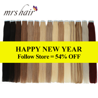 MRSHAIR 40pcs Tape In Human Hair Extensions 100grams 18 Inches Machine Remy Hair On Tape PU Skin Weft Seamless Human Hair