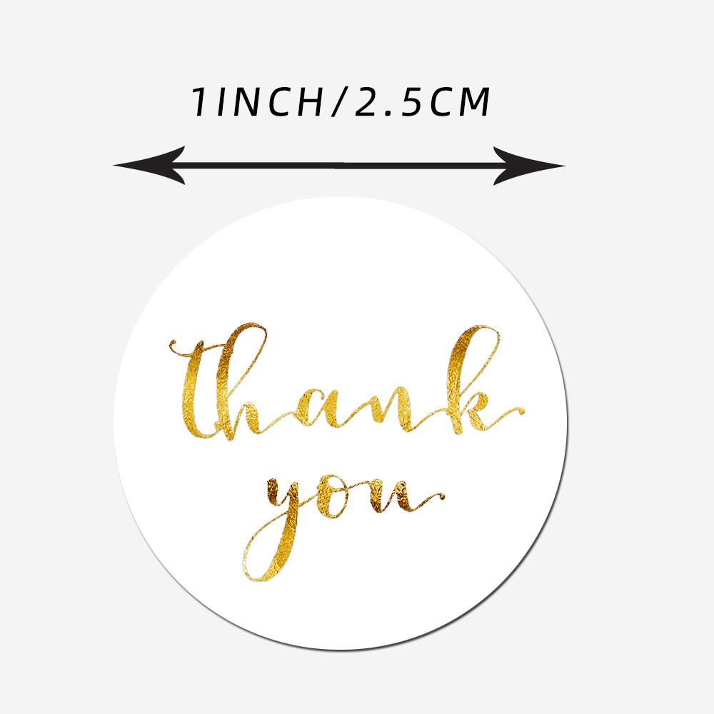 500pcs/roll 1 Inch Gold Foil Thank You Stickers For Seal Labels Gift Packaging Stickers Birthday Party Stationery Sticker