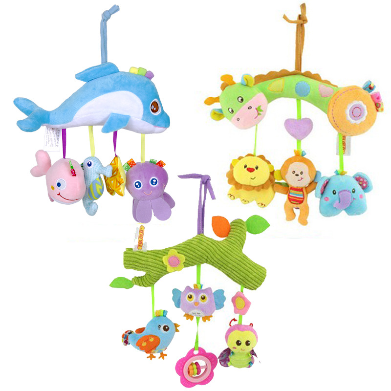 Plush Cartoon Animal Crib Mobile Baby Rattles With Teether Bed Hanging Newborns Toy For Stroller Infant Kids Educational Toys