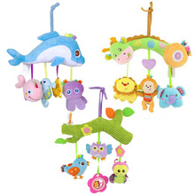 Plush Cartoon Animal Cribe Mobile Baby Rattles with Teether Bed Hanging Newborns Toy for Stroller Infant Kids Educational Toys
