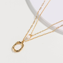цена Alloy Freshwater Pearl Lady Pendant Necklace Initial Name Letter Necklace Multilayer Chain Necklace for Women Brithday Gift в интернет-магазинах