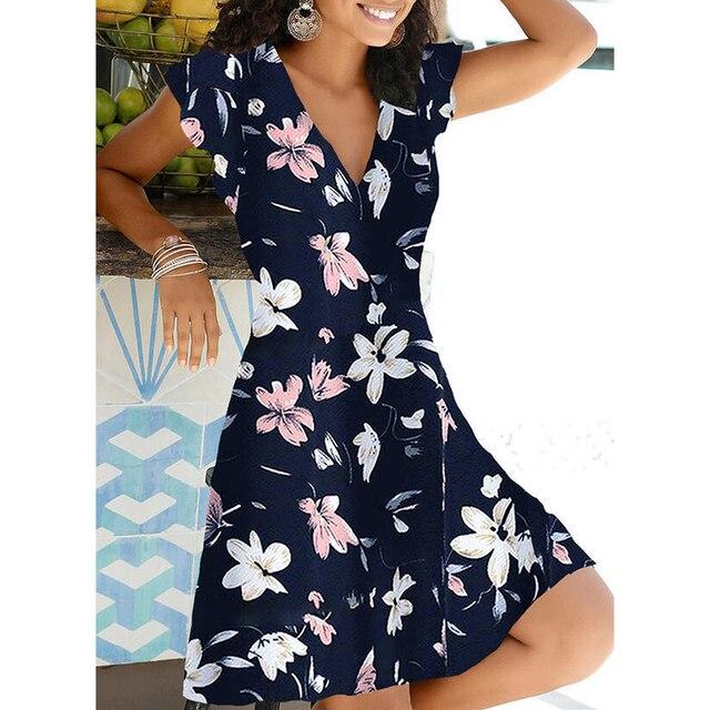 New Summer V Neck Floral Print Party Dress Women Vintage Sleeveless Tank Mini Dress Spring Loose Plus Size A-Line Dress 2021 3
