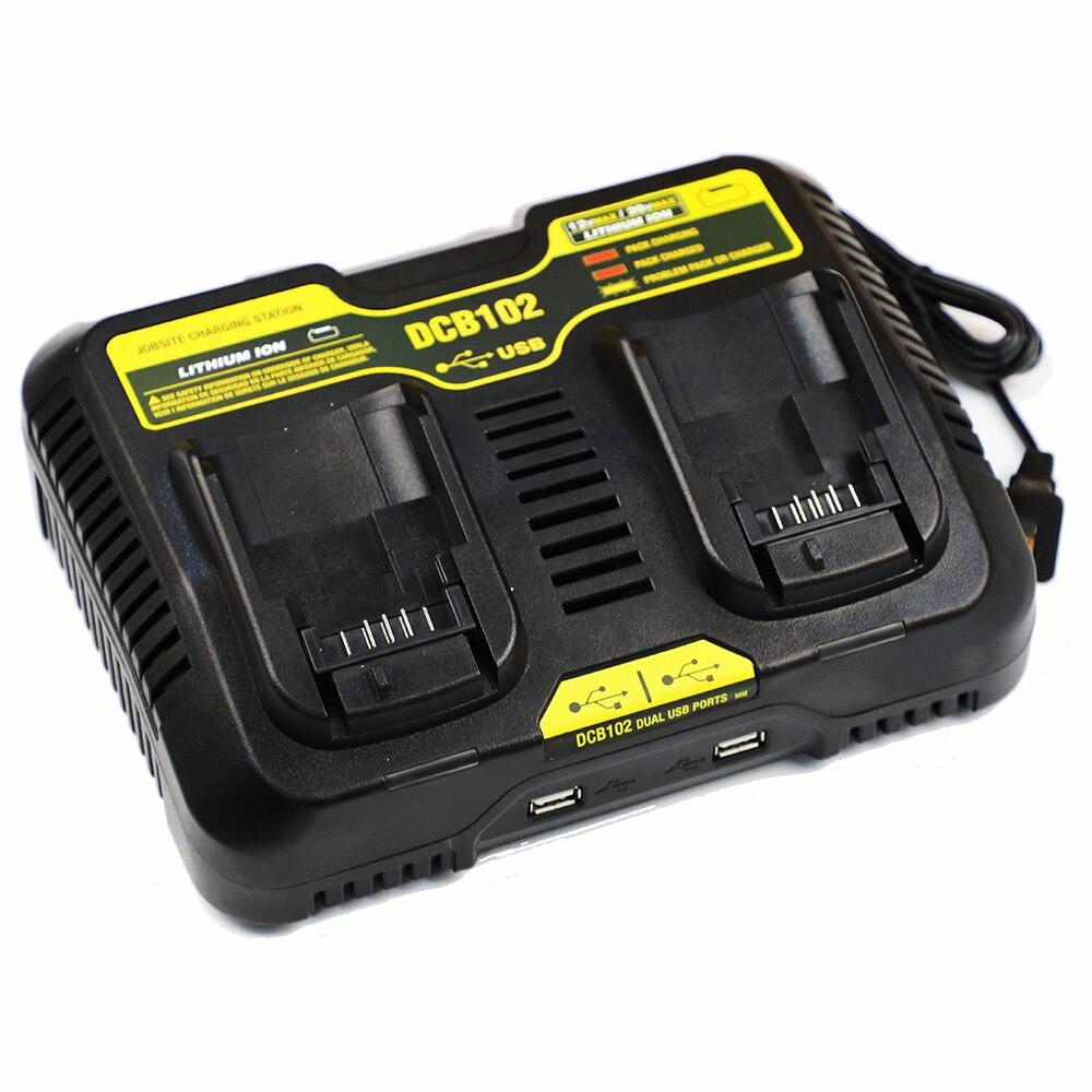 Двойное зарядное устройство с двойным USB портом DCB102, зарядное устройство для литий-ионных аккумуляторов для DeWalt, 12 В, 14,4 В, 18 в, 20 в, DCB200, DCB201, бы...