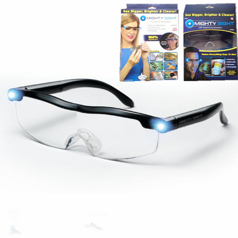USB LED Light Reading Glasses Clear Occhiali Da Lettura Adjustable Degree Diopter Night Presbyopic Glasses