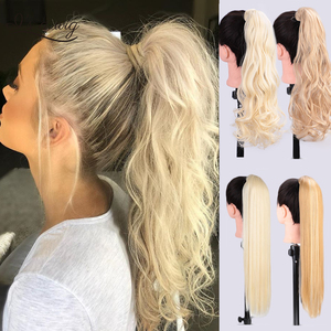 22'' Wrap Synthetic Ponytail Hair Extensions Long Wavy Clip In Hair Tail False Hair Pony Tail Hairpiece With Hairpins I's a wig(China)