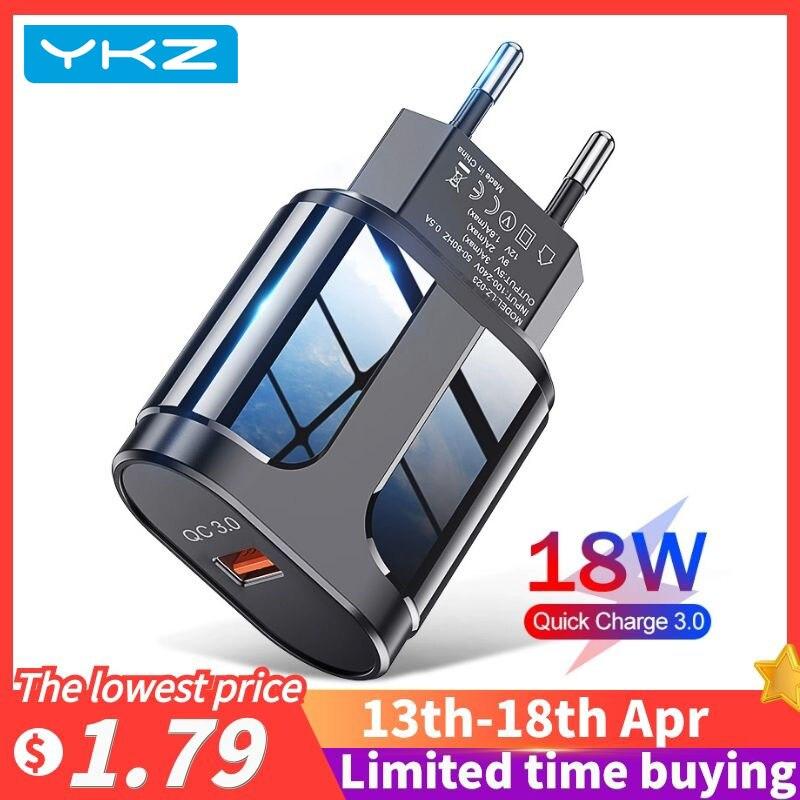 YKZ USB зарядное устройство 3A быстрой зарядки 18 Вт мобильный телефон адаптер для iPhone12 Pro Max ЕС/США Подключите зарядное устройство для Xiaomi Huawei ...