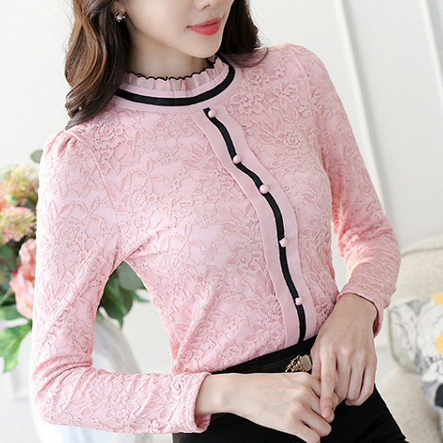 2020 Women Elegant Long Sleeve Shirt Lace Blouse Female Stand Puff Sleeve Solid Tops Shirt plus size 3XL 1