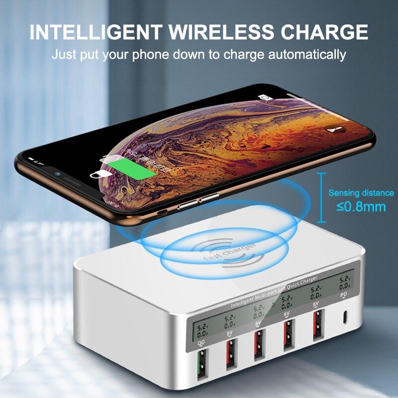 IHaitun 100W sans fil PD Type C QC3.0 USB chargeur LED affichage Station de quai rapide voyage Charge rapide 3.0 QC 4.0 pour iPhone 11 Pro - 2