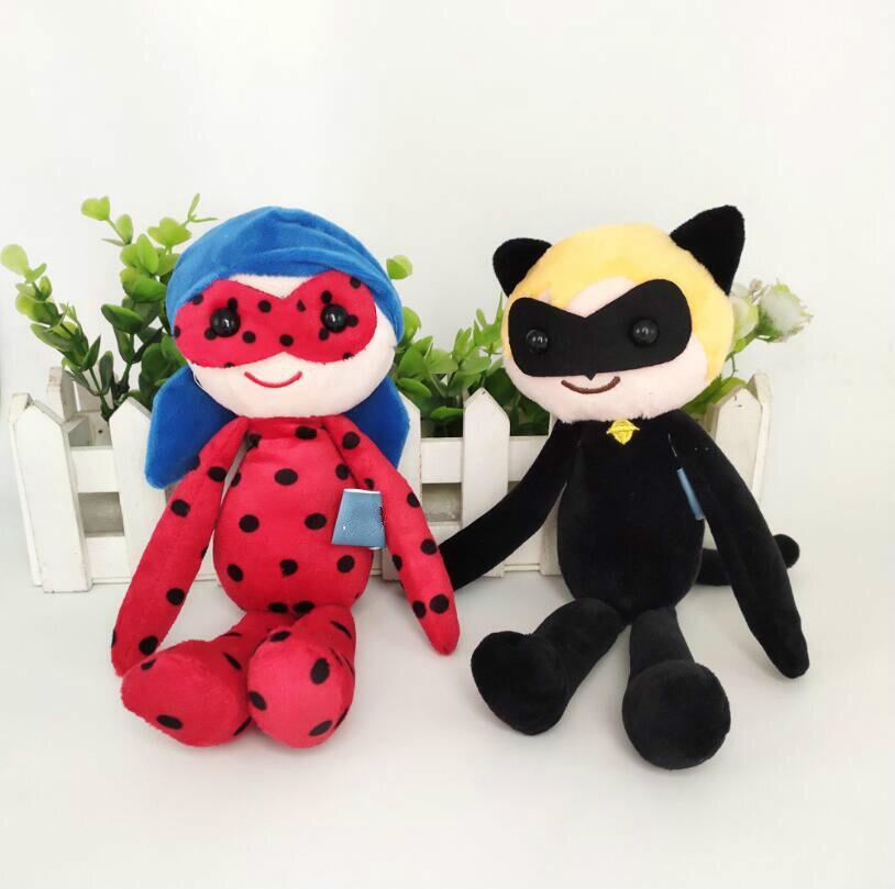 25 cm nouvelle coccinelle et chat Plagg et Tikki Noir peluche Adrien Marinette dame Bug Tikki Noir peluche poupée peluches pour les enfants